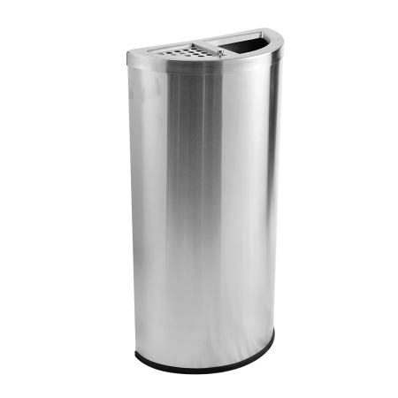 Stainless Steel Semi Round Bin Ashtray Open Top(SRB - 054-SS)