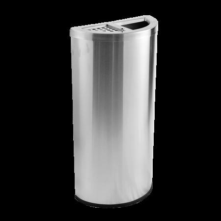 Stainless Steel Semi Round Bin Ashtray Open Top(SRB - 054-SS)